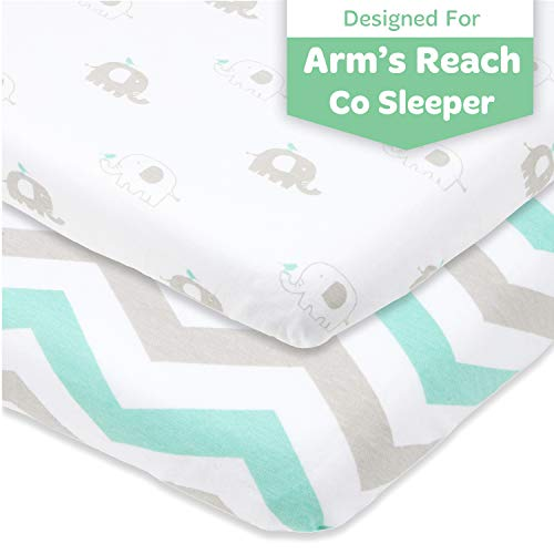 Cuddly Cubs Arms Reach Co Sleeper Sheets Fitted - 18 x 36 Cradle Sheets - Snuggly Soft Cotton - Fits Perfectly Without Bunching Up on Clear Vue, Cambria, Mini Ezee Bassinets - Grey, Mint