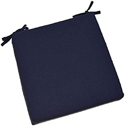 Universal 2 Thick Foam Seat Cushion with Ties for Dining Patio Chair – Solid Navy Blue Fabric – Choose Size 16 x 16