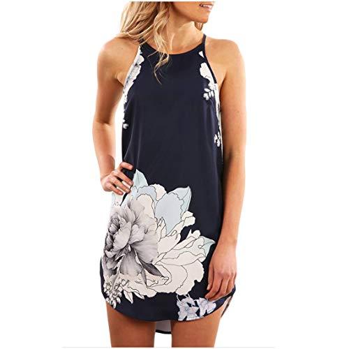 Seamido Women's Halter Neck Floral Print Sleeveless Casual Mini Dress Navy Blue Small