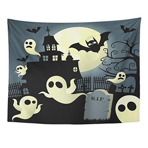 Emvency Tapestry Artwork Wall Hanging Halloween Haunted House Graveyard Bats Castle Freaky Full Moon Ghosts 60x80 Inches Tapestries Mattress Tablecloth Curtain Home Decor Print]()