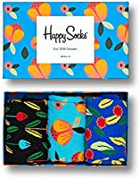 Happy Socks, Colorful Premium Cotton Gift Box 3 Pack Socks for Men and Women, Flower Box, 10-13