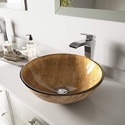 VIGO Amber Sunset Glass Vessel Bathroom Sink and Blackstonian Vessel Faucet with Pop Up, Chrome