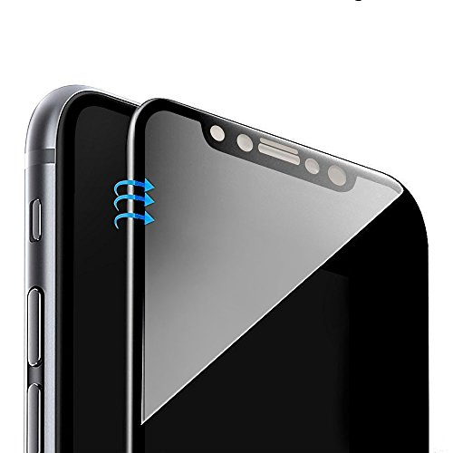 Vintar [3D Full Coverage] Anti-Spy iPhone X Privacy Screen Protector, 9H Tempered Glass Screen Protector, (Black)