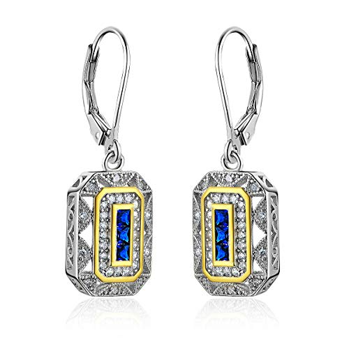 : Newshe Vintage Created Blue Sapphire White Cz 925 Sterling Silver Gemstone Dangle Drop Earrings