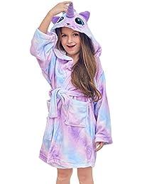 QtGirl Unicorn Kids Robe, Girls Bathrobe Fleece Sleepwear Hooded Sleep Robe for Girl Party Blue, Purple