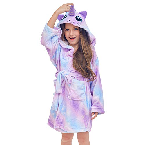 QtGirl Unicorn Kids Robe, Girls Bathrobe Fleece Sleepwear Hooded Sleep Robe for Girl Party Blue, Purple