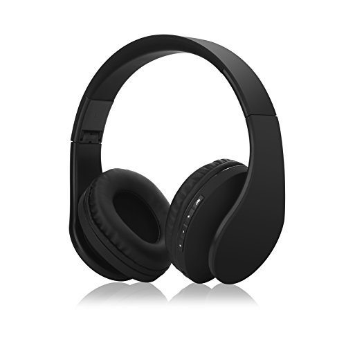 Tugood Bluetooth Headphones, Hi-Fi Stereo Wireless Over Ear Headsets w/ Built-in Micphone, Foldable, Soft Memory-Protein Earmuffs, and Wired Mode for PC, Cell Phones, TV in Black Color by Tugood