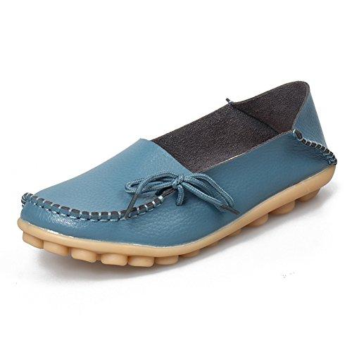 Amaxuan Kvinnor Läder Loafers Mockasiner Vild Körning Tillfälliga Flats Oxfords Andas Skor Ljusblå