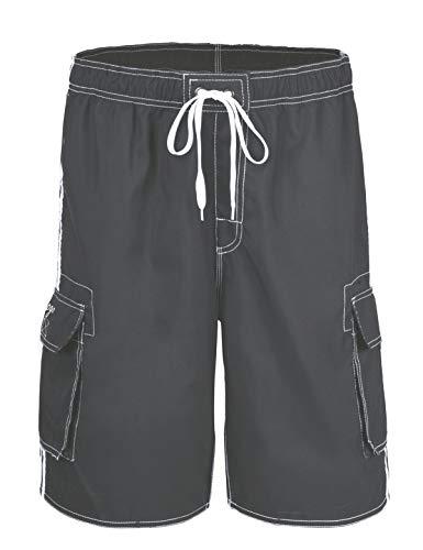 Elastic White Mesh - Hopgo Men's Quick Dry Beach Short Solid Color Boardshorts Swim Trunks 32 Gray&White