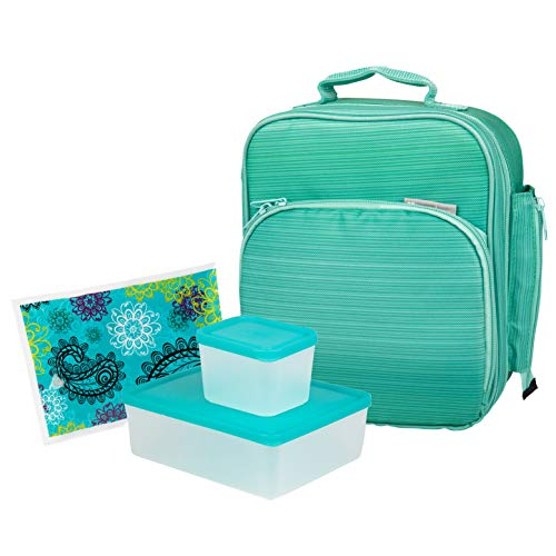 Bentology Lunch Bag Kit - Durable Insulated Tote Bag with Handle and Bottle Holder Set Includes 2 Containers & Ice Pack - BPA & PVC Free - Turquoise