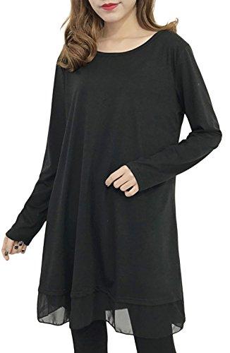 Grande Bevalsa Longue Manche Tee Haut Coton Noir Blouse Longue Taille Lache Top Casual Longue Tunique Shirt Femme 1qqXxgR