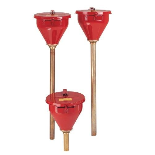 Justrite 08207 Wide Mouth Safety Funnel with 6'' Brass Flame Arrester, 10.75'' Diameter