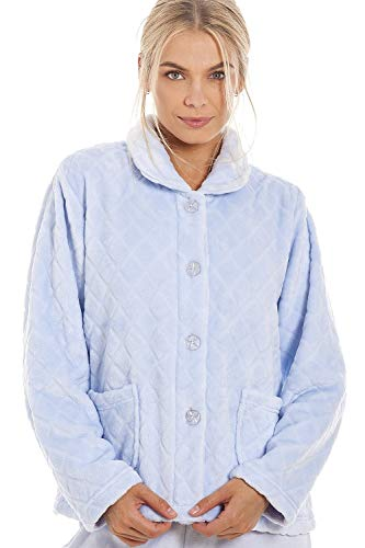 Camille Womens Luxury Soft Button Bed Jackets 14-16 Diamond Blue