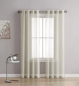 Grommet Semi Sheer Curtains 2 Pieces Total Size 108 Inch Wide 54 Inch Each