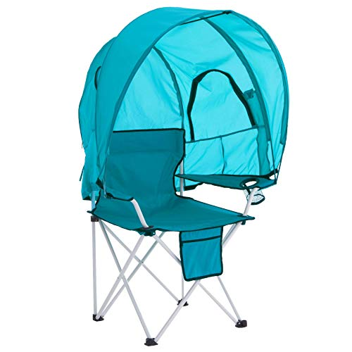 - BrylaneHome Camp Chair with Canopy - Breeze