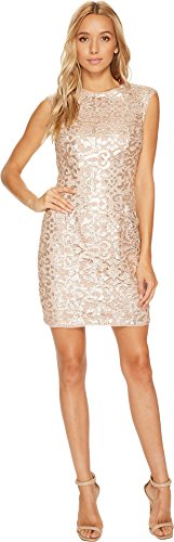 Raglan Cap Sleeve Sequin Lace Sheath Dress Rose Gold Dress (Ladies Raglan Cap)