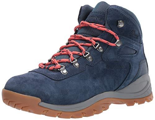 Columbia Women's Newton Ridge Plus Waterproof Amped Hiking Shoe, zinc, Coral, 5 Regular US
