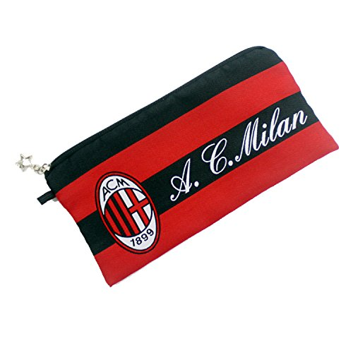 AC Milan Football Soccer Club Soccer Gift Stationery Pencil Case Pen Bag Pouch w/ Emboirdered Logo