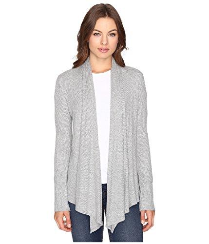 Culture Phit Women's Edda Long Sleeve Ribbed Cardigan Heather Grey Sweater