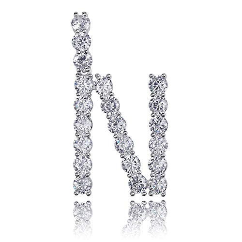 GUCY Hip Hop Jewelry Tennis Letters Pendant Chain Iced Out CZ Lab Diamond Letter Chains Custom Necklace Name for Men Women(Silver N, 24)