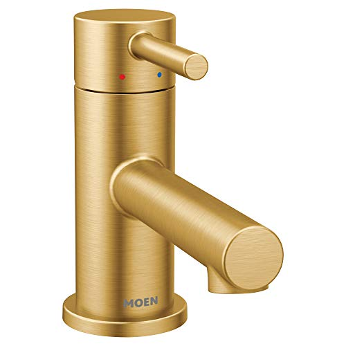 (Moen 6191BG Align One-Handle Single Hole Low Profile Modern Bathroom Faucet with Drain Assembly, Brushed Gold)
