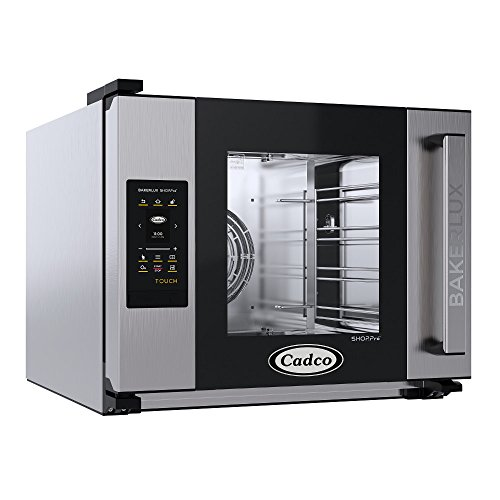 Cadco XAFT-04HS-TR Bakerlux TOUCH Heavy-Duty Electric Countertop Convection Oven, (4) Half Size Sheet Pan Capacity, Side Hinged Glass Door