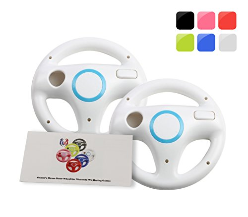 Wii Racing Game Steering Wheel (GH 2Pcs Wii(U) \ Wii Wheel for Mario Kart 8 and Other Nintendo Remote Steering Games , Wii Steering Wheel - Original White (6 Colors Available))