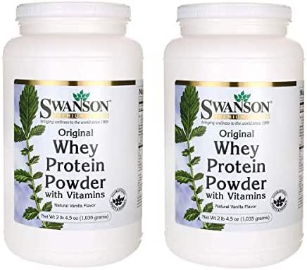 Swanson Original Whey Protein Powder with Vitamins Sports Nutrition Muscle Workout Support 2 lbs 4.5 Ounces (1,035 g) (2 Pack)