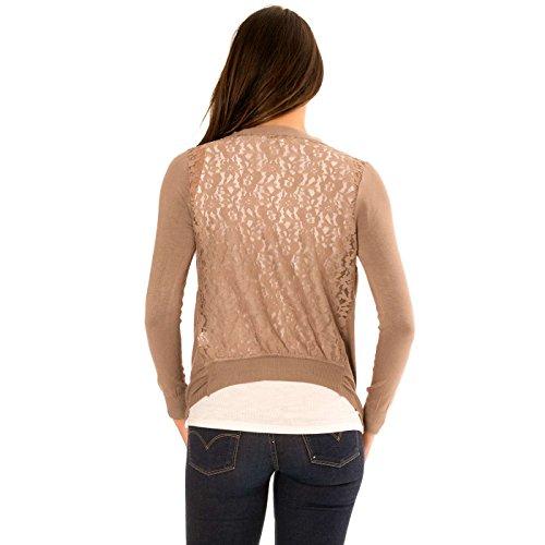 Miss Wear Line Gilet taupe manches longue, dos et épaules en dentelle