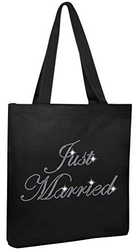 Varsany Black Just Married Luxury Crystal Bride Tote bag wedding party gift bag (Just Married Tote)