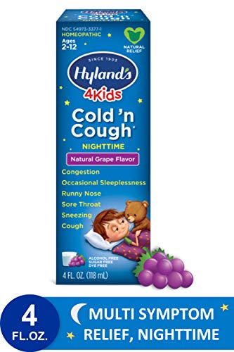 Cold Medicine for Kids Ages 2+ by Hylands, Cold and Cough 4 Kids Grape, Nighttime, for Cough, Decongestant, Allergy and Common Cold Symptom Relief, 4 Fl Oz Each