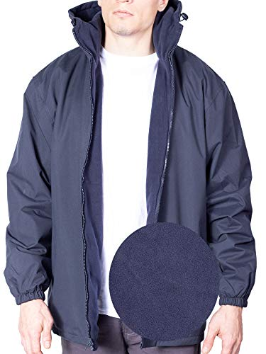 (MAXXSELL Mens Windbreaker Jacket Reversible Winter Rain Coat Hoodie for Men Small Navy)