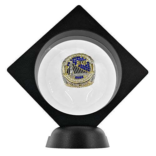 BIGWISH 2PCS Set 3D Floating Display Case Display Stands Holder Suspension Frame for Championship Ring,Challenge Coin,AA Medallion,Jewelry,Pin,Black,3.5x3.5x0.8 Inches(Without Rings) (Championship Coin)