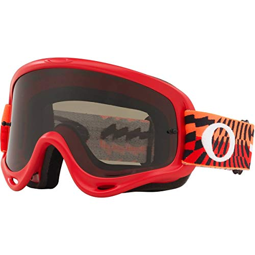 Oakley O Frame MX Adult Off-Road Motorcycle Goggles - Braking Bumps Red Orange w/Dark Grey