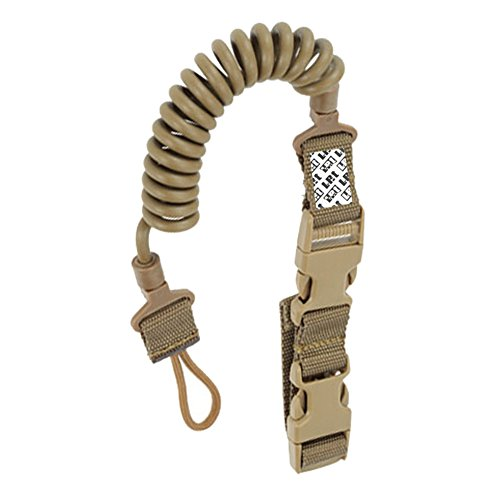 LefRight Tactical Pistol Lanyard Retention Coil Security Leash Sling with Quick Release for Basic Belt Loop (Khaki)