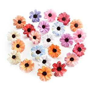 Silk Artificial Flowers Fake Flower Heads in Bulk Wholesale for Crafts Shiny Daisy Head Wedding Home Decoration Party Decor DIY Scrapbooking Chrysanthemum Accessories 50pcs (Pink) 4