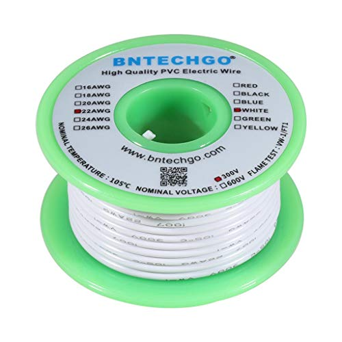 BNTECHGO 22 AWG 1007 Electric wire 22 Gauge PVC 1007 Wire Solid Wire Hook Up Wire 300V Solid Tinned Copper Wire White 25 ft Per Reel For DIY