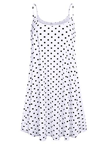 7th Element Plus Size Women's Casual Spaghetti Loose Swing Slip Summer Dress Sundress (White Polka Dot, 5-XL)