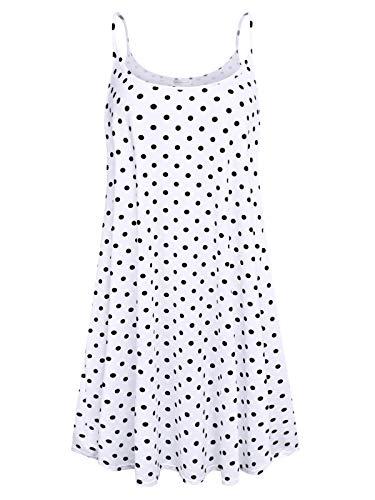 7th Element Plus Size Women's Casual Spaghetti Loose Swing Slip Summer Dress Sundress (White Polka Dot, - Jeans Dress Summer