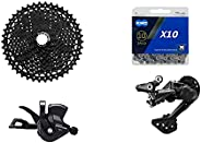 JGbike Compatible 10 Speed MTB 4pc groupset for Shimano Deore M4100: Right Shift Lever,4120 5120 SGS Long cage