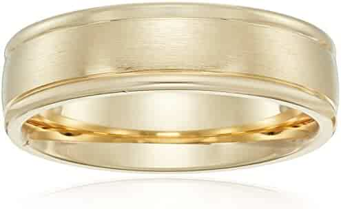 6mm 14k Gold Comfort Fit Plain Wedding Band with Satin Center