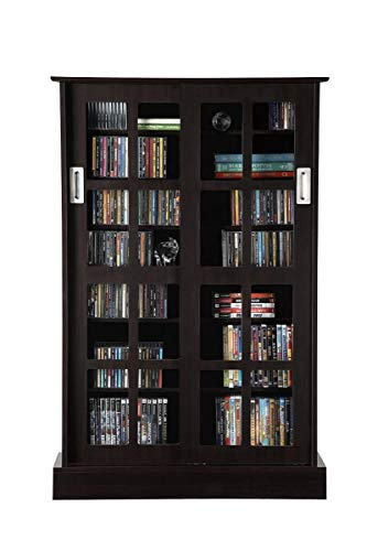 Atlantic Windowpane Adjustable Media Cabinet - Tempered Glass Pane Styled Sliding Doors; Store 216 Blu-Rays, 192 DVDs or 576; Adjustable Shelves; 49 X 32 X 9.5 inches; PN94835721 in Espresso (Renewed)