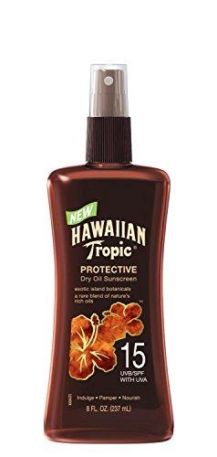 Hawaiian Tropic Protective Dry Oil Sunscreen Spray Pump SPF 15 - 8 Ounce, 2 Pack