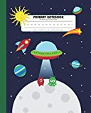 #4: Primary Notebook Handwriting Practice Paper: Kindergarten to Early Childhood Composition (Exercise) Book | 120 Dashed Midline Pages | Green (Outer Space Astronomy Series)