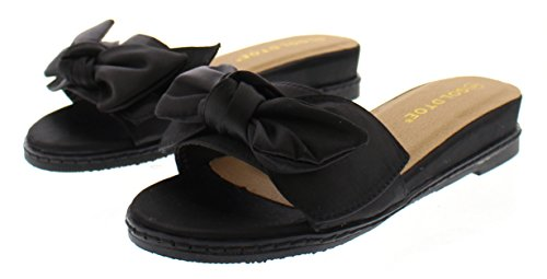 (Arelle Womens Bow Sandals,Slip On Wedges for Women,Low Wedge Open Toe Sandal Platform Slides,Dress Shoes Black 8 US )