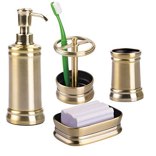 mDesign Bath Accessory Set, Soap Dispenser Pump, Toothbrush Holder, Tumbler, Soap Dish- 4 Pieces, Soft Brass ()