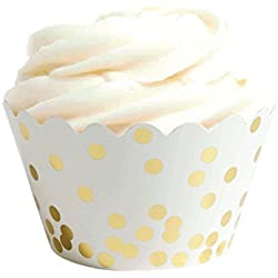 Andaz Press Gold Foil Polka Dot Cupcake Wrappers, 24-Pack, Shiny Metallic Colored Wedding Birthday Baby Shower Party Supplies Decorations