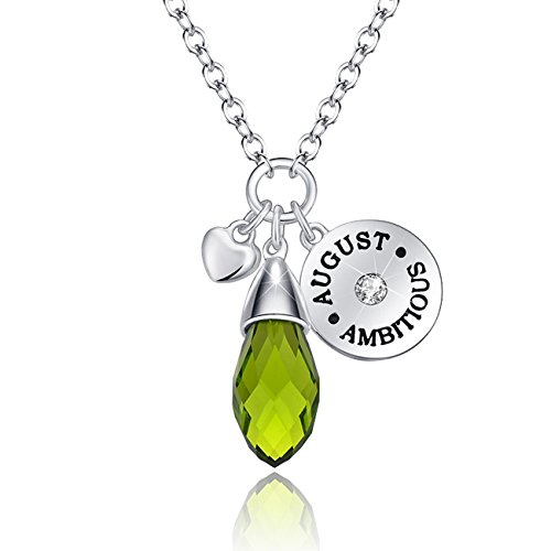 KIM S Simulated Peridot Birthstone Necklace Teardrop Pendant Elements Crystal August Birthday Gifts for Women Girlfriend Wife for Her Jewelry Gifts for Women