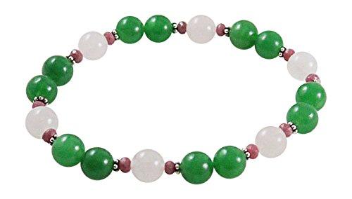 Rose Quartz Bracelet with Aventurine and Rhodonite - 7 1/2