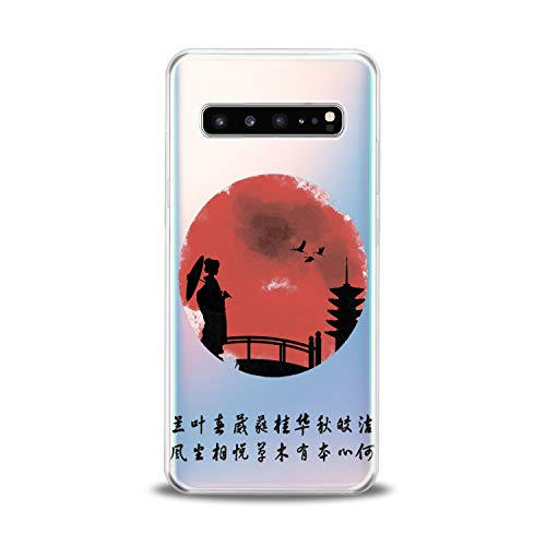 (Lex Altern TPU Case for Samsung Galaxy s10 5G Plus 10e Note 9 s9 s8 s7 Japanese View Lightweight Flexible Design Woman Clear Tower Smooth Bridge Gift Cover Soft Print Stork Slim Village Gentle Sunset)